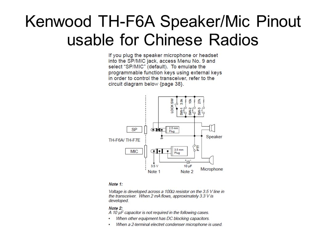 Audio Interfacing For Aprs And Digital Sstv Modes Ppt Video Basic Vox Circuit Controls Ptt 20 Kenwood Th F6a Speaker Mic Pinout Usable Chinese Radios