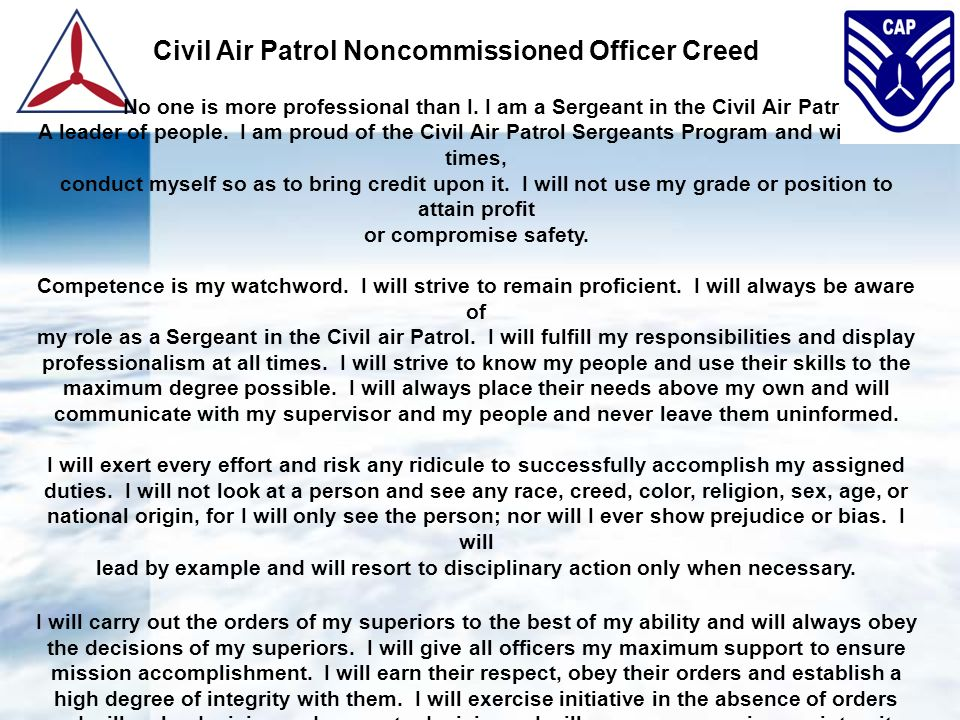 Civil air patrol nco program ppt video online download sergeant in the civil air patrol yelopaper Gallery