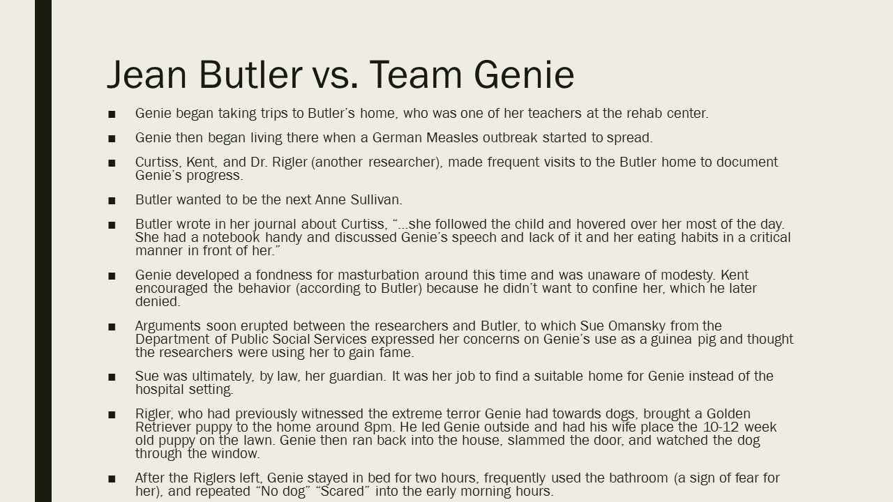 Jean Butler vs. Team Genie