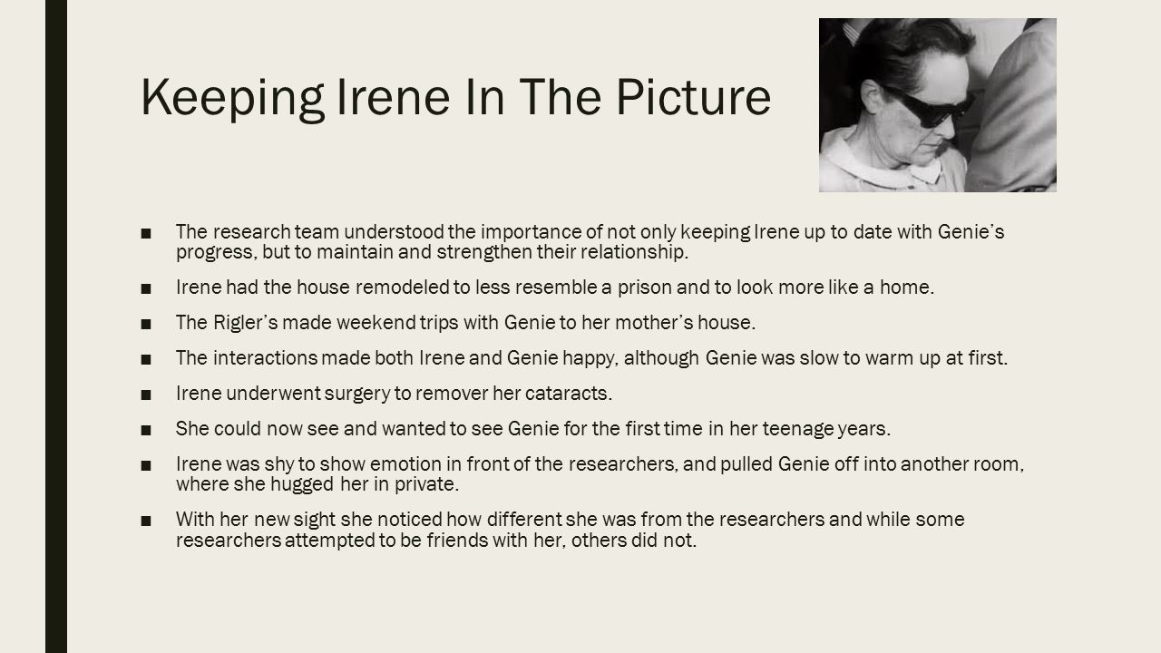Keeping Irene In The Picture