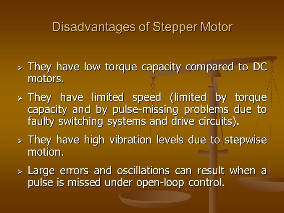 Disadvantages of Stepper Motor