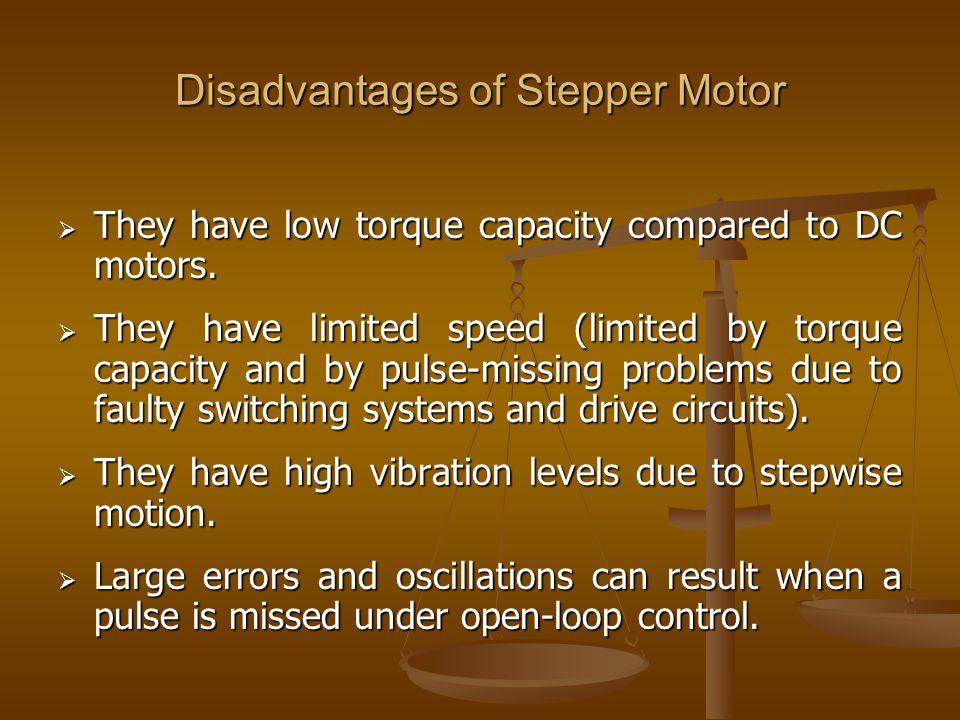 Disadvantages of Stepper Motor