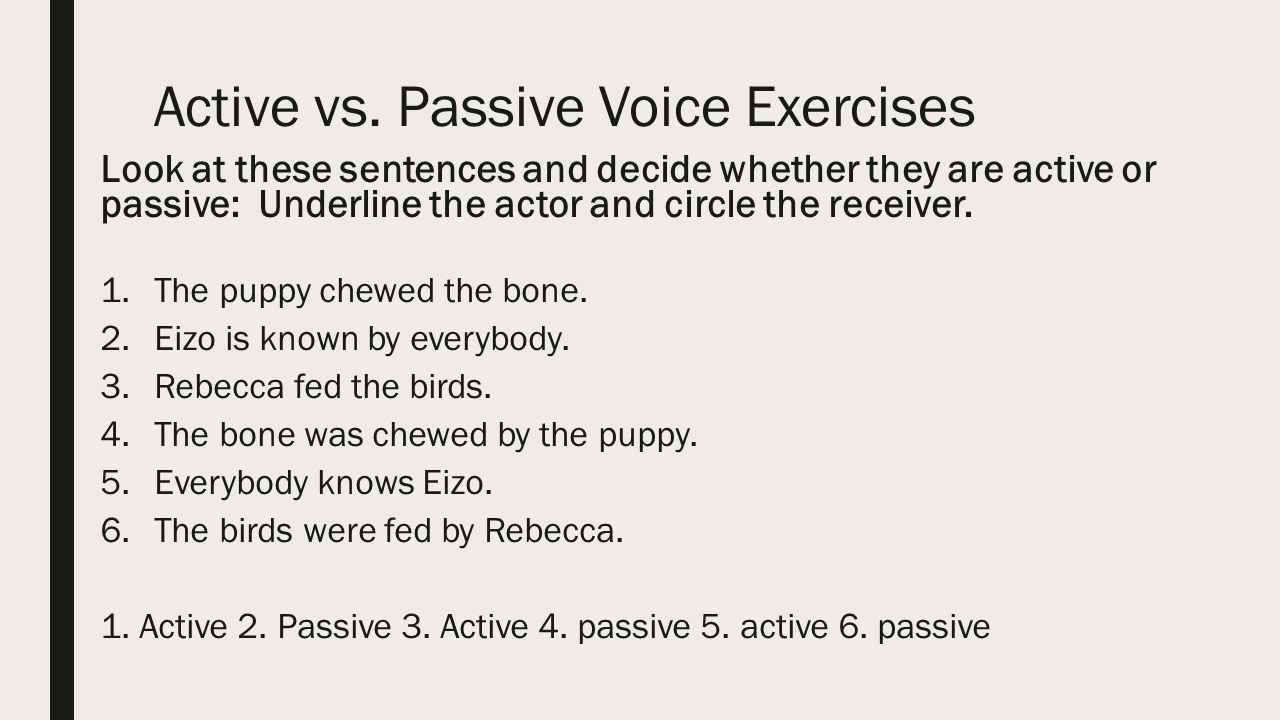 Worksheets Active Vs Passive Voice Worksheet lesson 2 passive voice ppt video online download 7 active vs exercises
