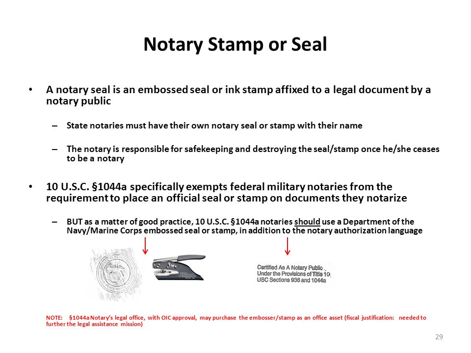 10 USC 1044a NOTARY TRAINING Developed By Legal Assistance