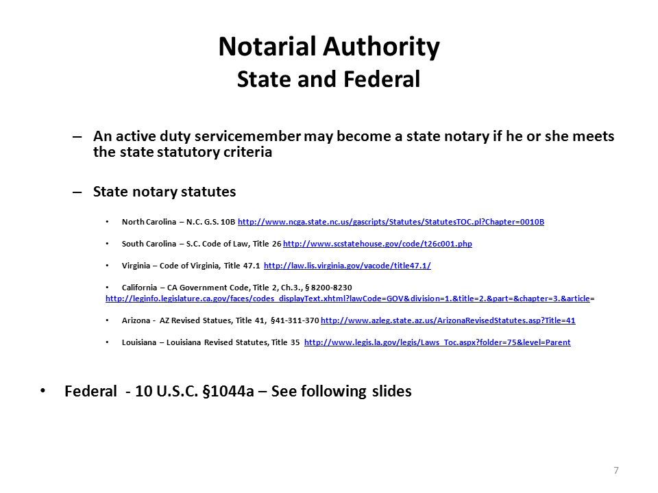 Notarial Authority State And Federal