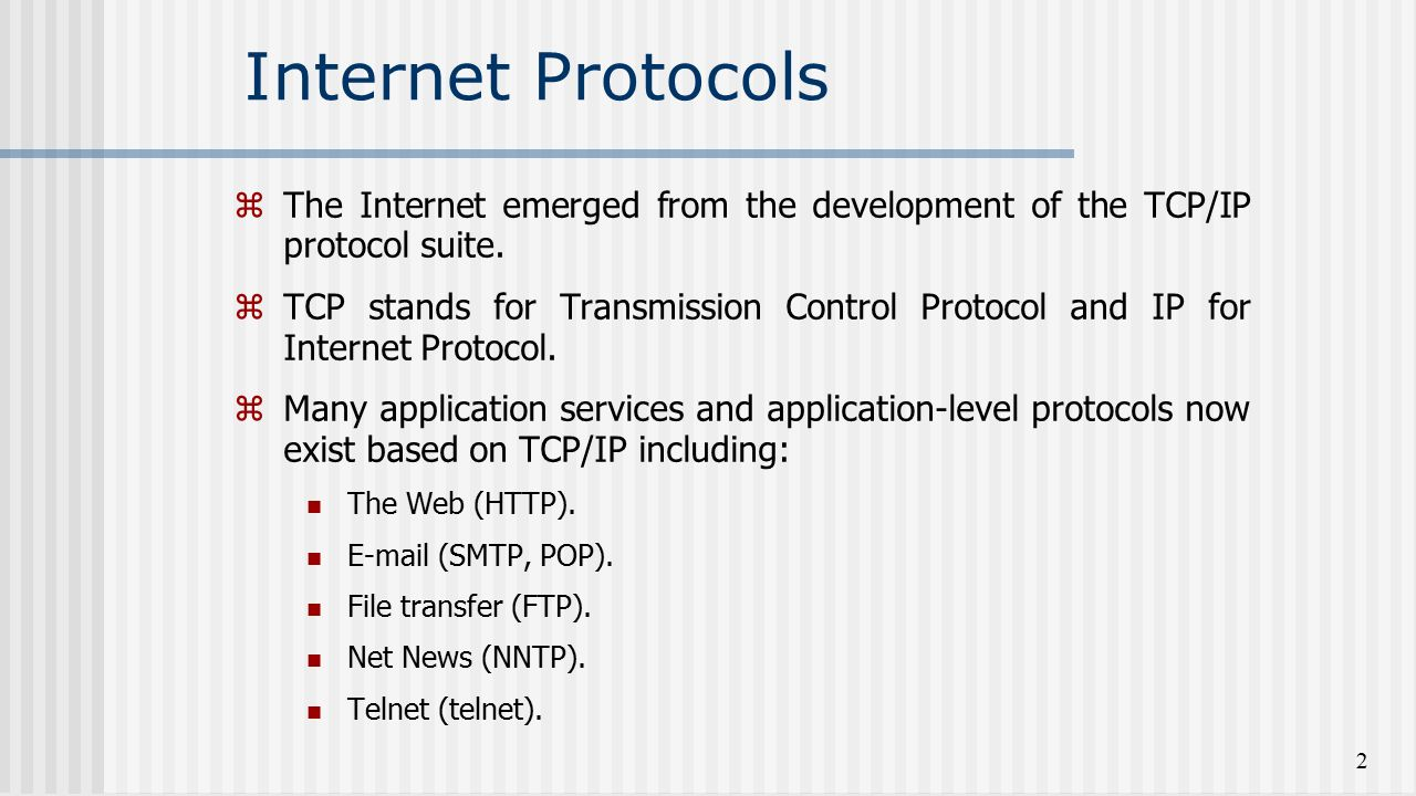 Protocols TCPIP Internet. TCPIP protocol stack 18