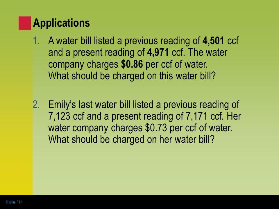 10 applications a water bill