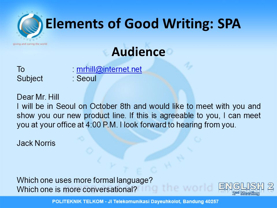 2nd Meeting Elements Of Good Writing Spa Ppt Video Online Download