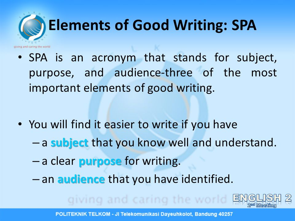 Elements Of Good Writing Spa