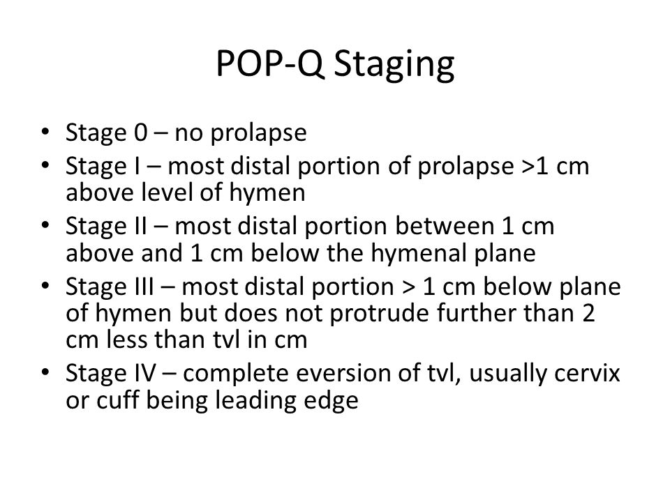 POP-Q Staging Stage 0 – no prolapse