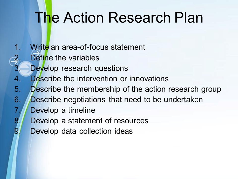 od action research step wise example Revans is recognized widely as the principal pioneer of action learning and has done much research in this area the example involves the five universities of belgium working with a number of larger companies, with the goal of elevating the economic performance of belgium (revans, 1982, p 329)  as is done in action research, in effect, you.