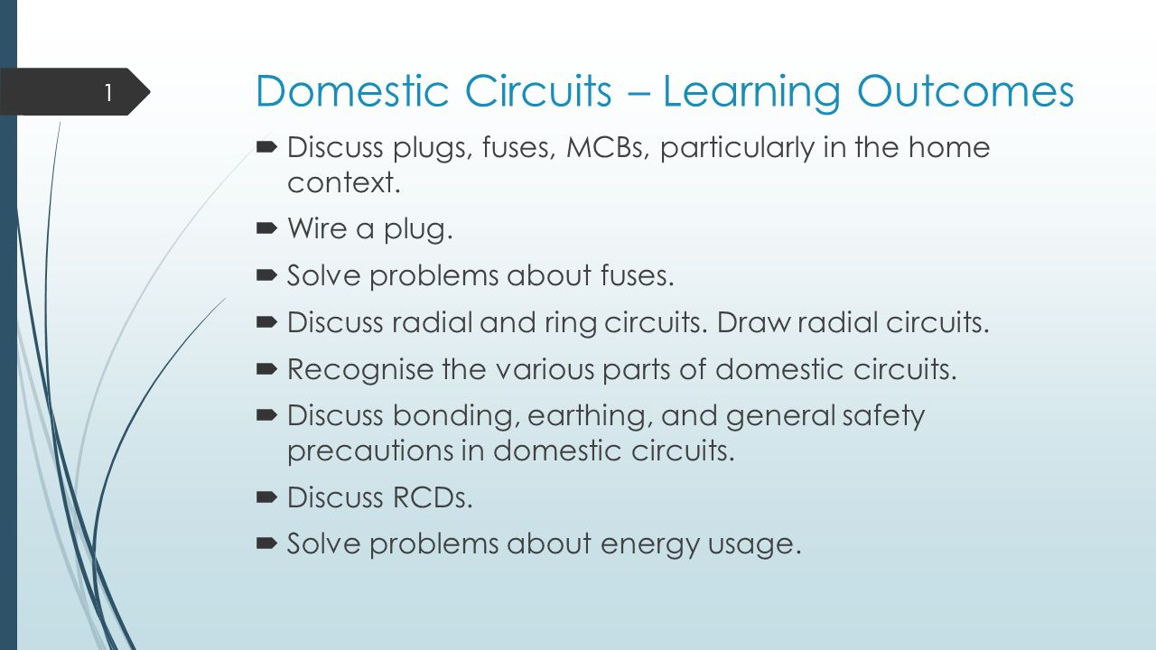 Domestic Circuits Learning Outcomes Ppt Video Online Download Safety Fuse Box In House