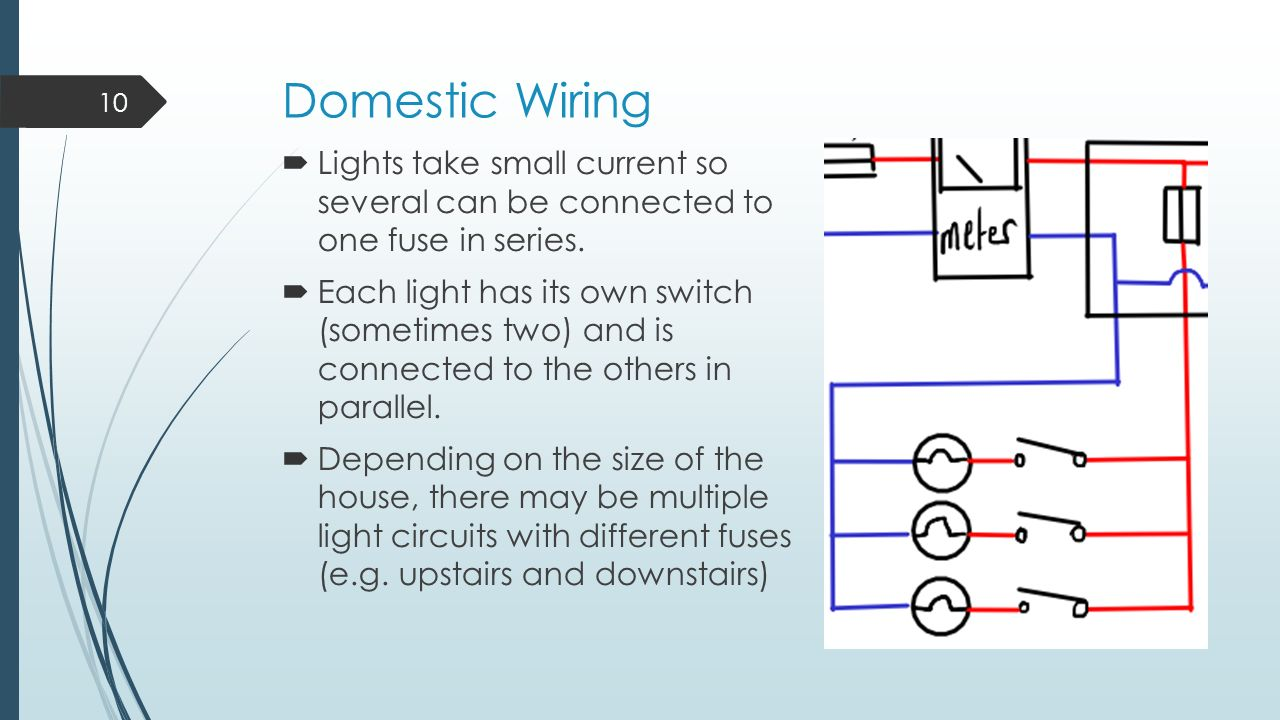 Domestic Wiring Lights take small current so several can be connected to  one fuse in series