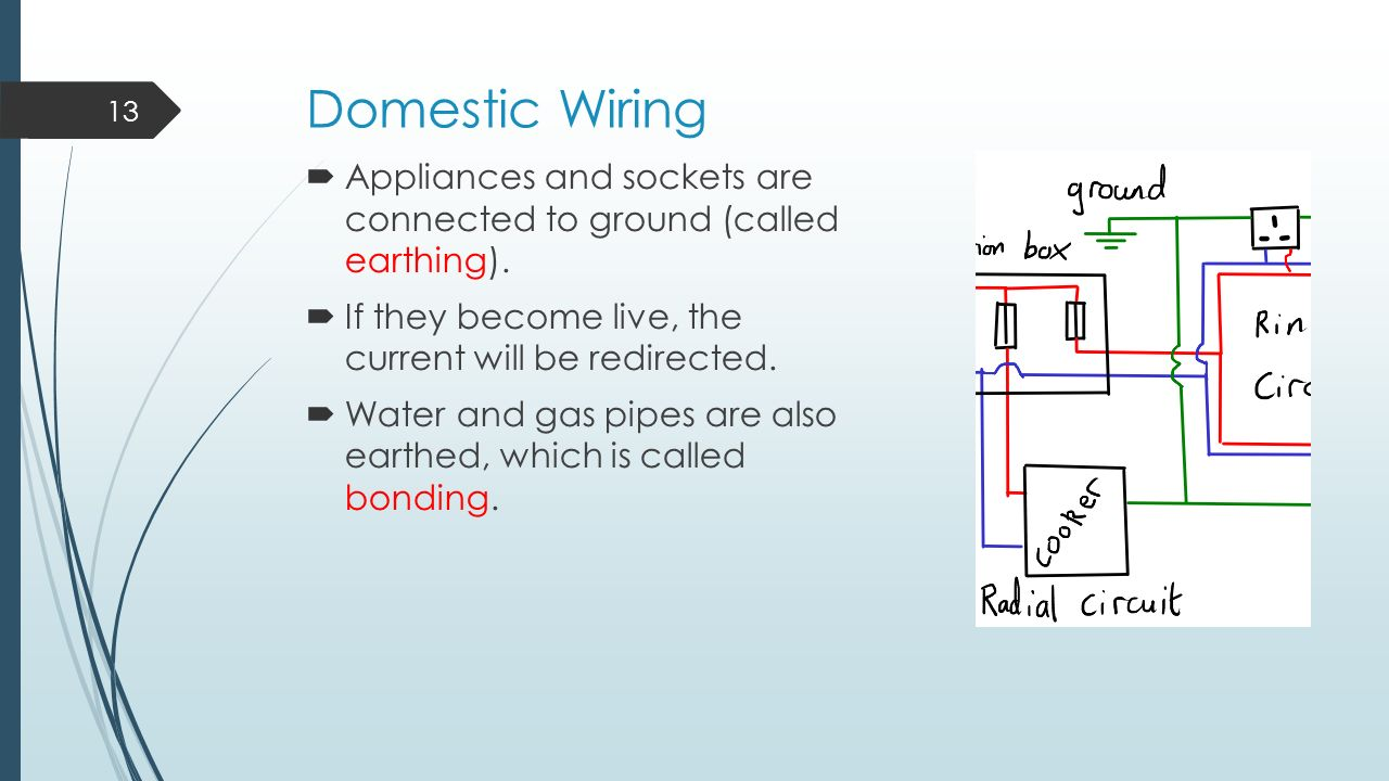Domestic Circuits – Learning Outcomes - ppt video online ... on residual-current device, circuit breaker, power factor, three-phase electric power, electrical wiring, electric power transmission, electrical bonding, electrical conduit, electricity distribution, national electrical code, distribution board, power cable, ground and neutral, lightning rod, alternating current, short circuit, earth leakage circuit breaker, electric shock,