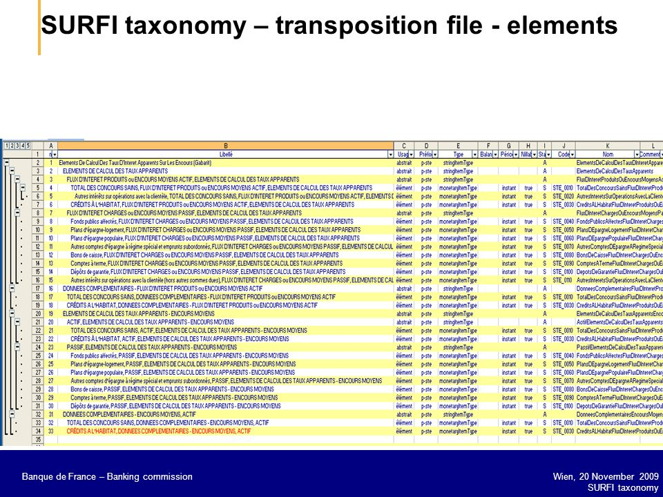 SURFI taxonomy – transposition file - elements