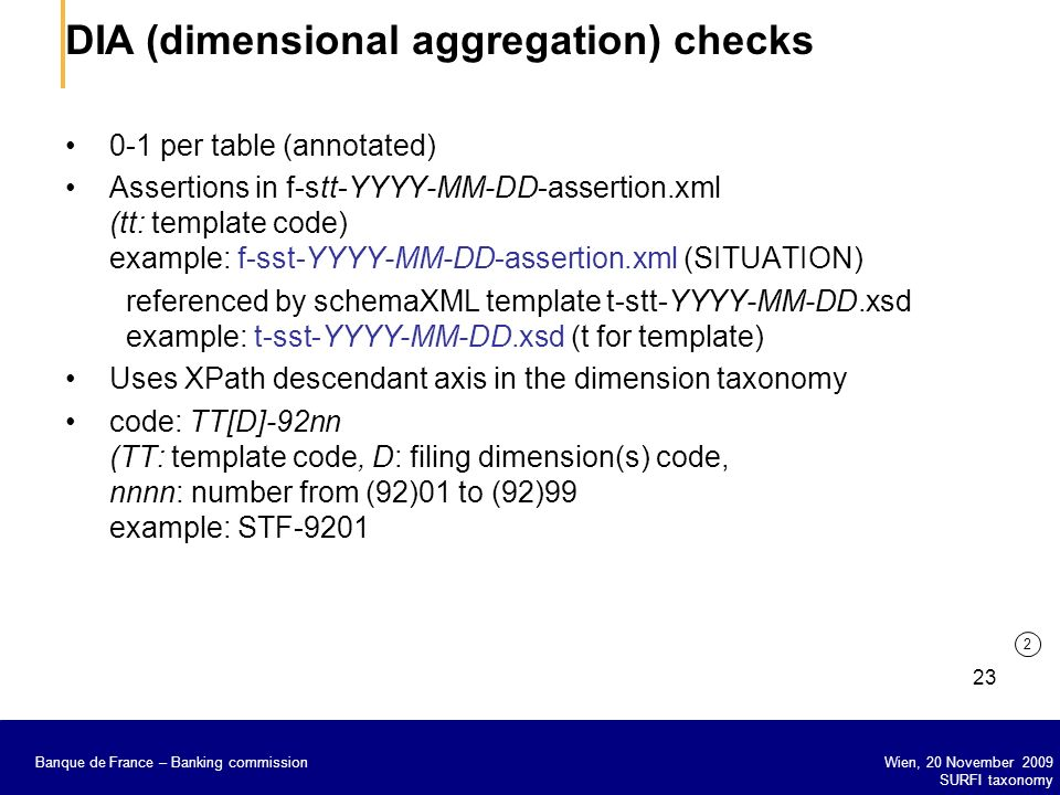 DIA (dimensional aggregation) checks