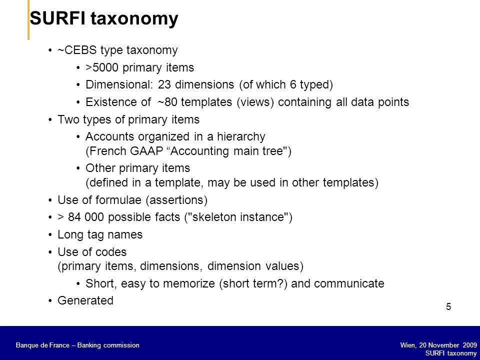 SURFI taxonomy ~CEBS type taxonomy >5000 primary items