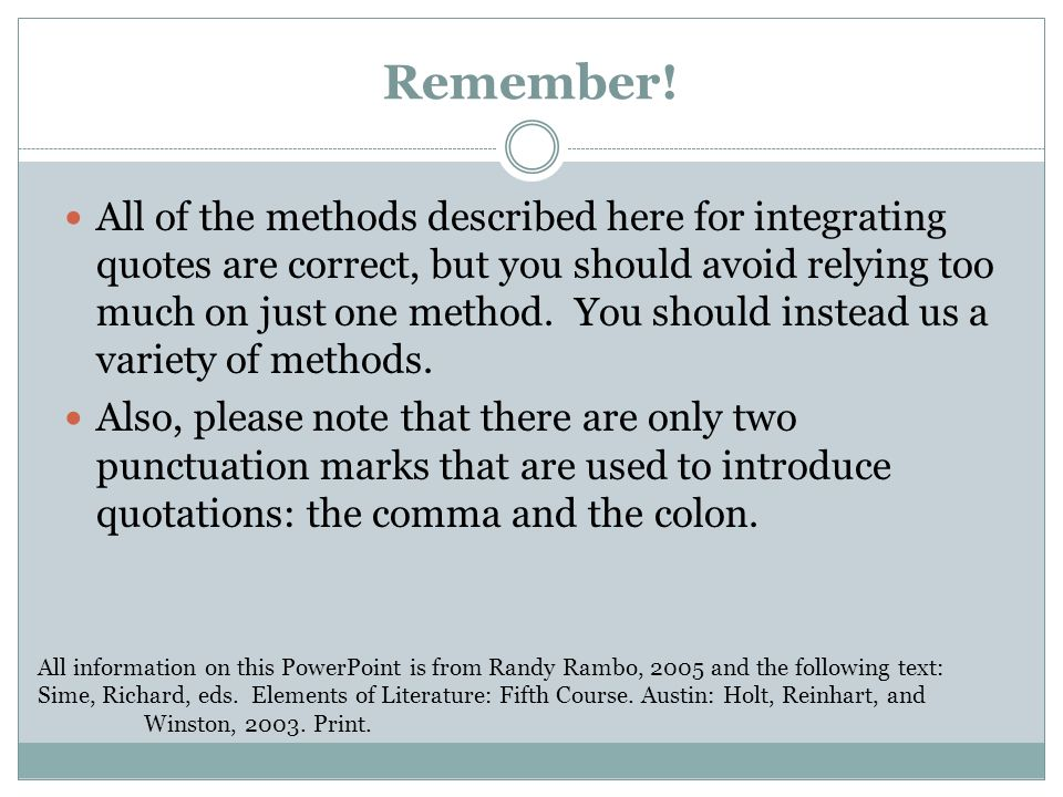 Four Ways Of Integrating Quotes Into Sentences Ppt Video Online