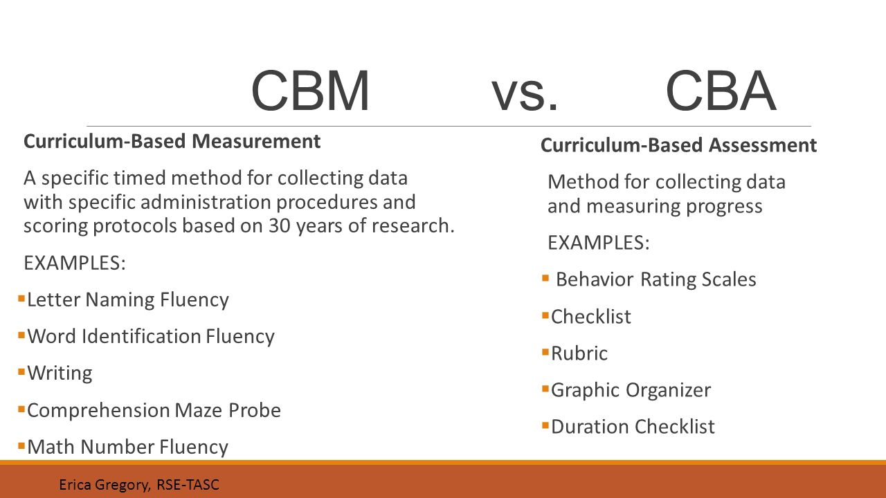 curriculum based assessment examples