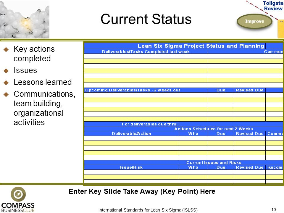 Lean six sigma improve phase tollgate review ppt download for Certified professional building designer