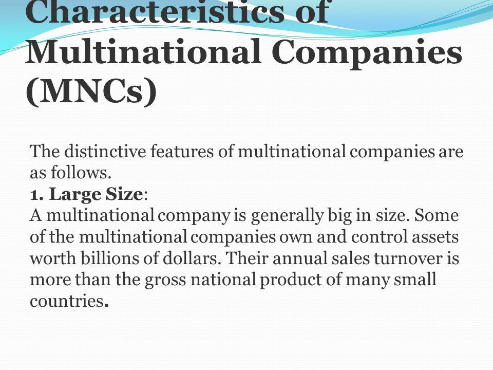 characteristics of multinational companies