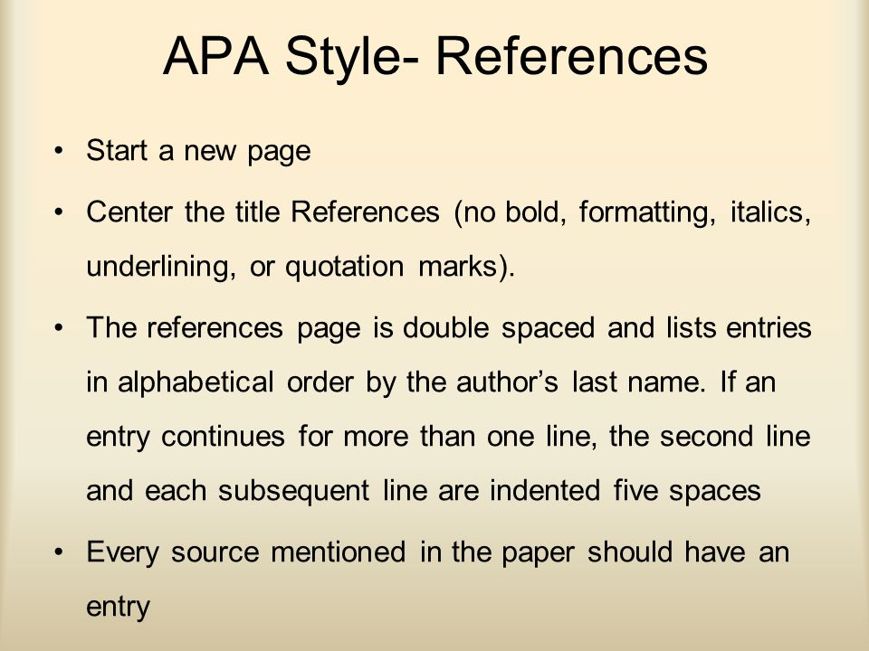 apa style references page The references page follows the last page of your text it documents sources cited and provides information to access each source the word references should be centered at the top of the page.