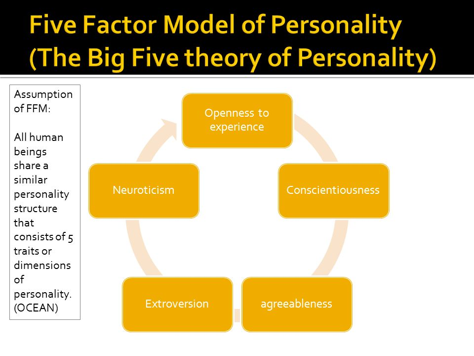 an overview of personality using the five personality dimensions Write a 400- to 600-word summary of your personality, as described by the big 5 inventory discuss the upsides and the downsides of the pattern of the five dimensions or traits of your personality we know that three of the big 5—conscientiousness, openness.