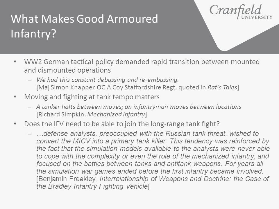 What Makes Good Armoured Infantry
