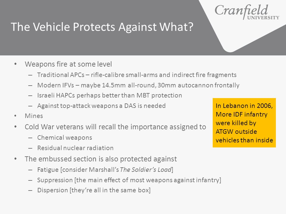 The Vehicle Protects Against What