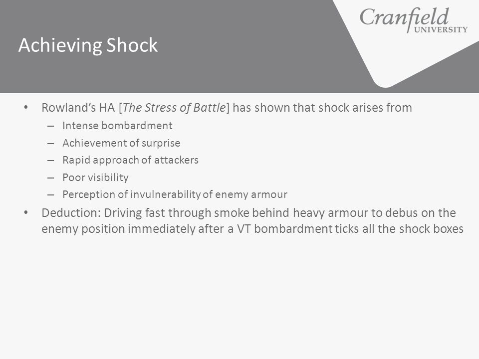 Achieving Shock Rowland's HA [The Stress of Battle] has shown that shock arises from. Intense bombardment.