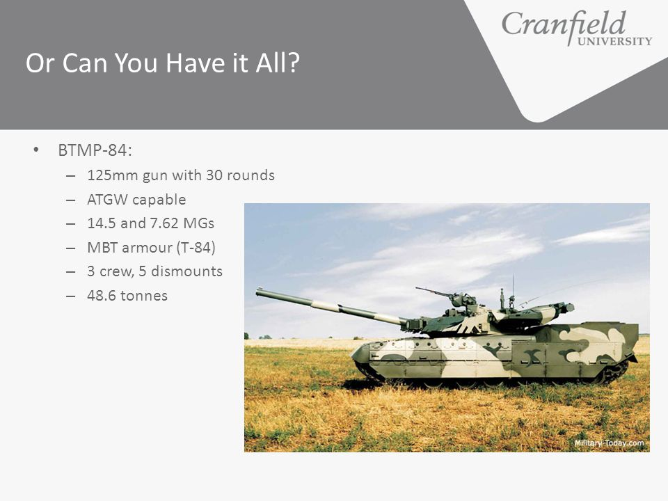 Or Can You Have it All BTMP-84: 125mm gun with 30 rounds ATGW capable