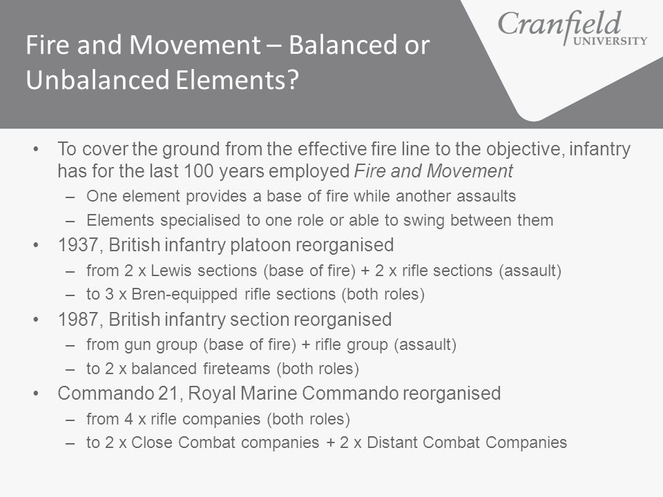 Fire and Movement – Balanced or Unbalanced Elements