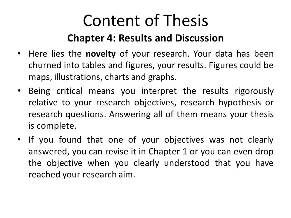 results and discussion section of thesis