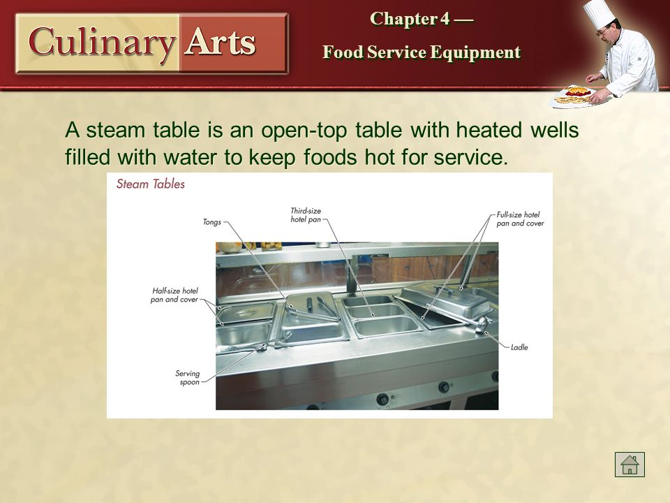 Food service equipment ppt download a steam table is an open top table with heated wells filled with water to keyboard keysfo Gallery