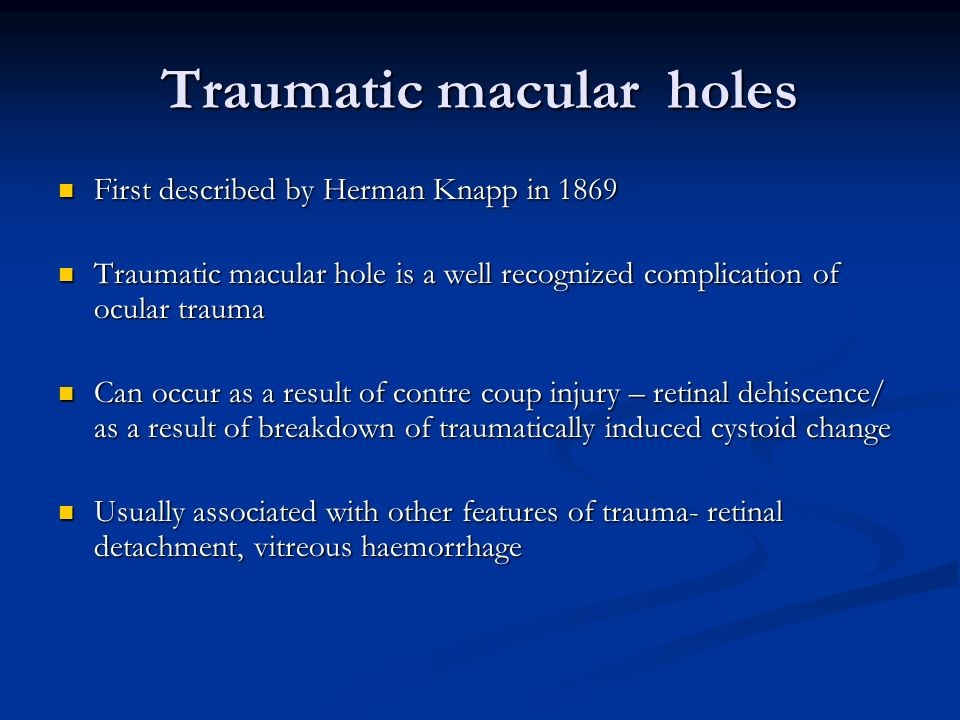 Visual prognostic indicators in traumatic macular hole surgery SGN