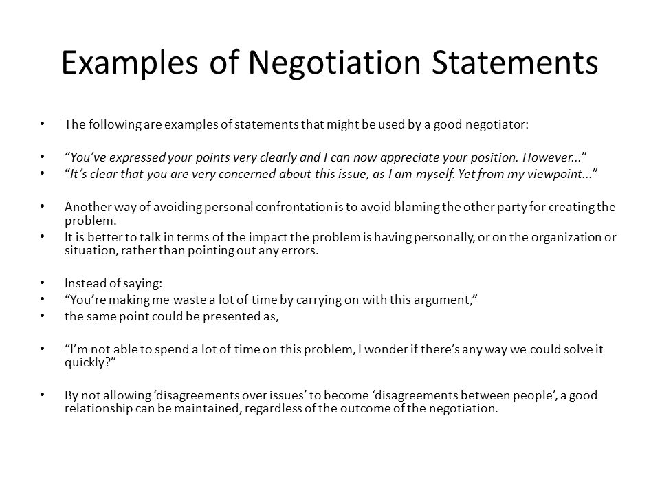 negotiation examples in business