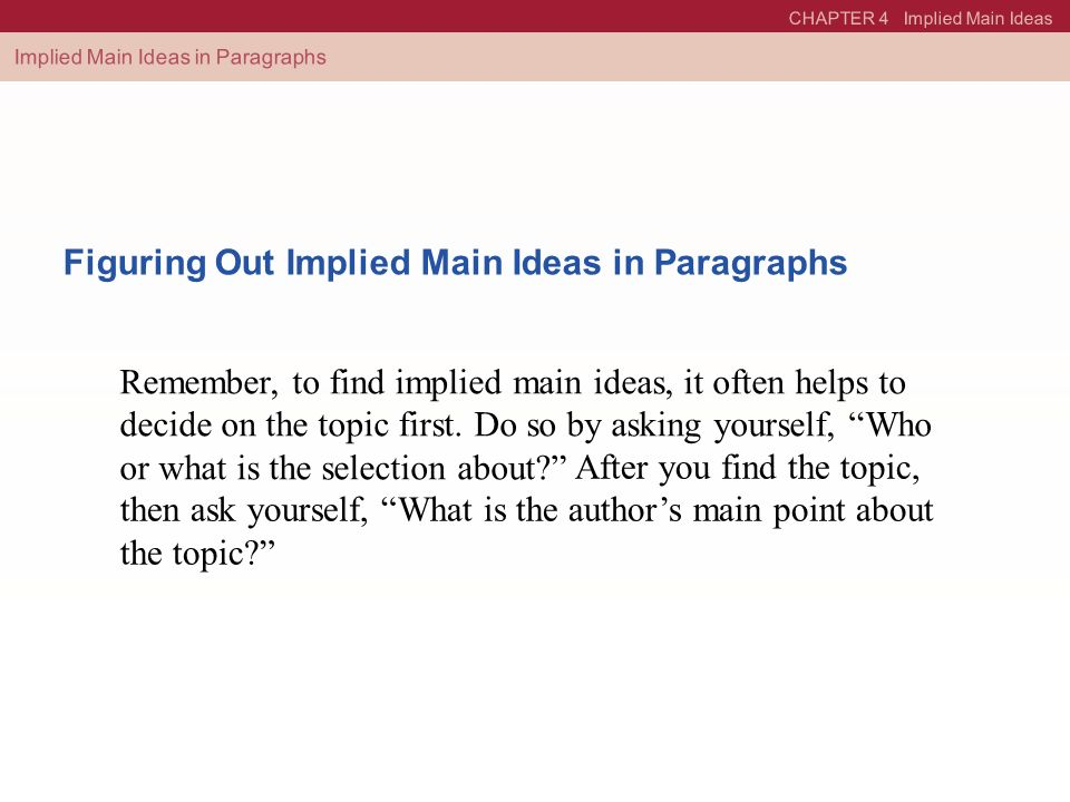 Printable Worksheets find the main idea worksheets : 4 Implied Main Ideas. - ppt video online download