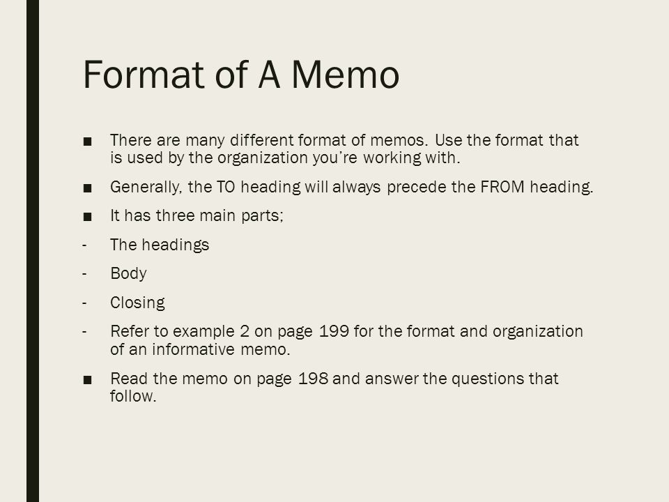 format of a memo there are many different format of memos use the format that