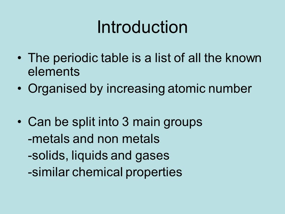 The periodic table igcse chemistry ppt video online download introduction the periodic table is a list of all the known elements urtaz Images