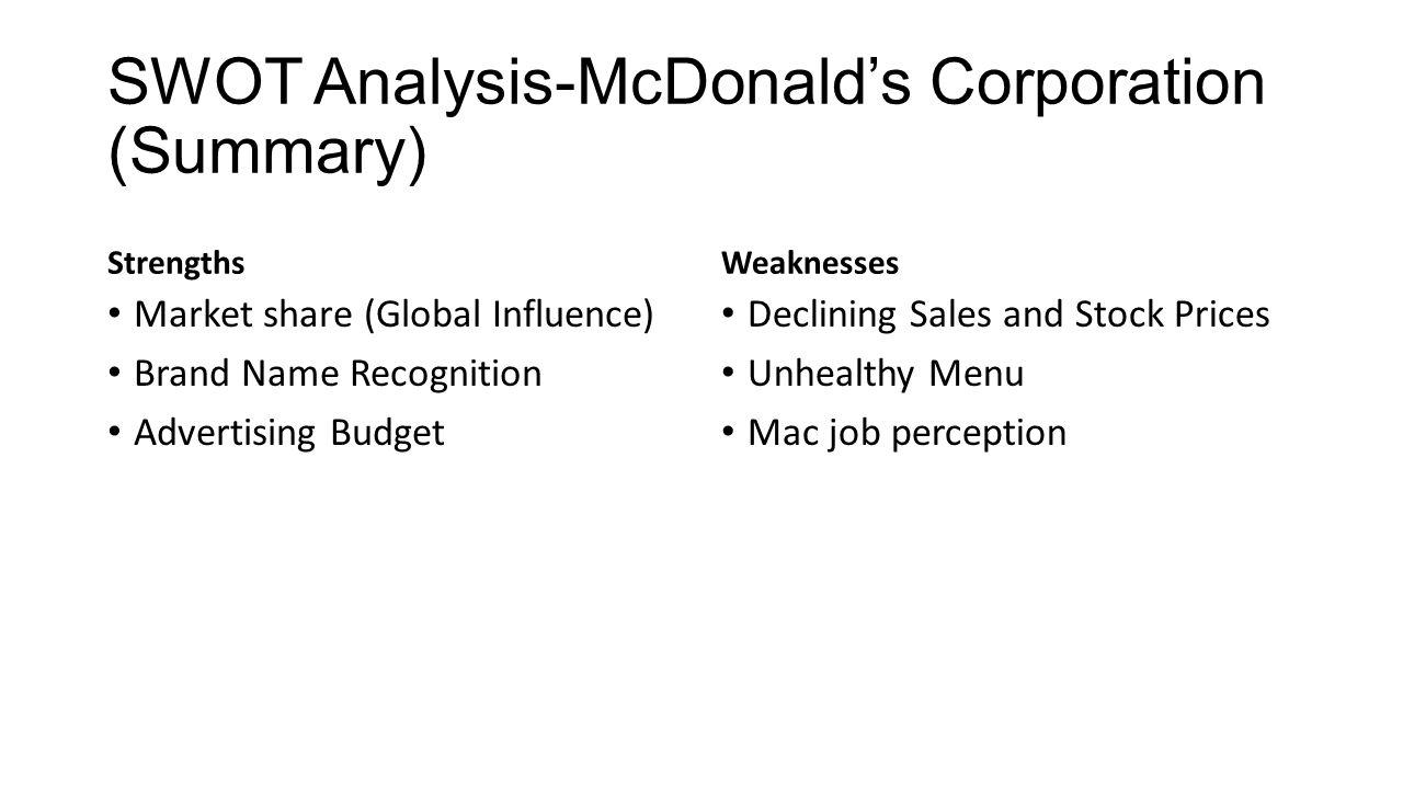 mcdonalds internal weaknesses
