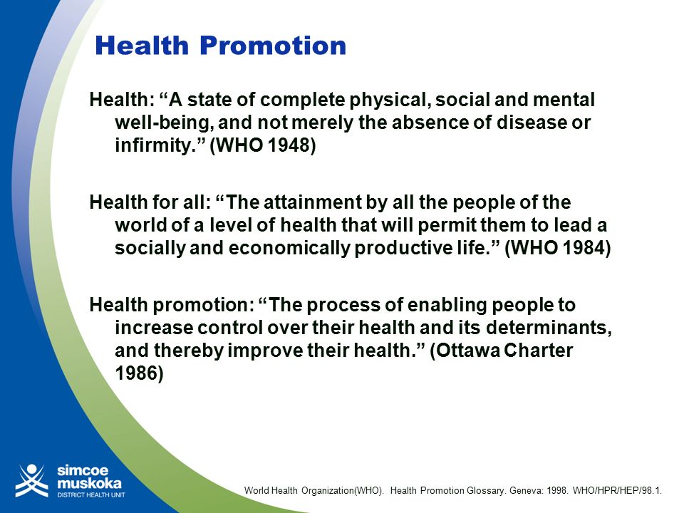 HEALTH PROMOTION GLOSSARY GENEVA WORLD HEALTH ORGANIZATION 1998