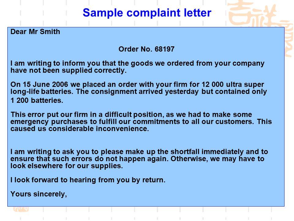 sample complaint letter for order not received