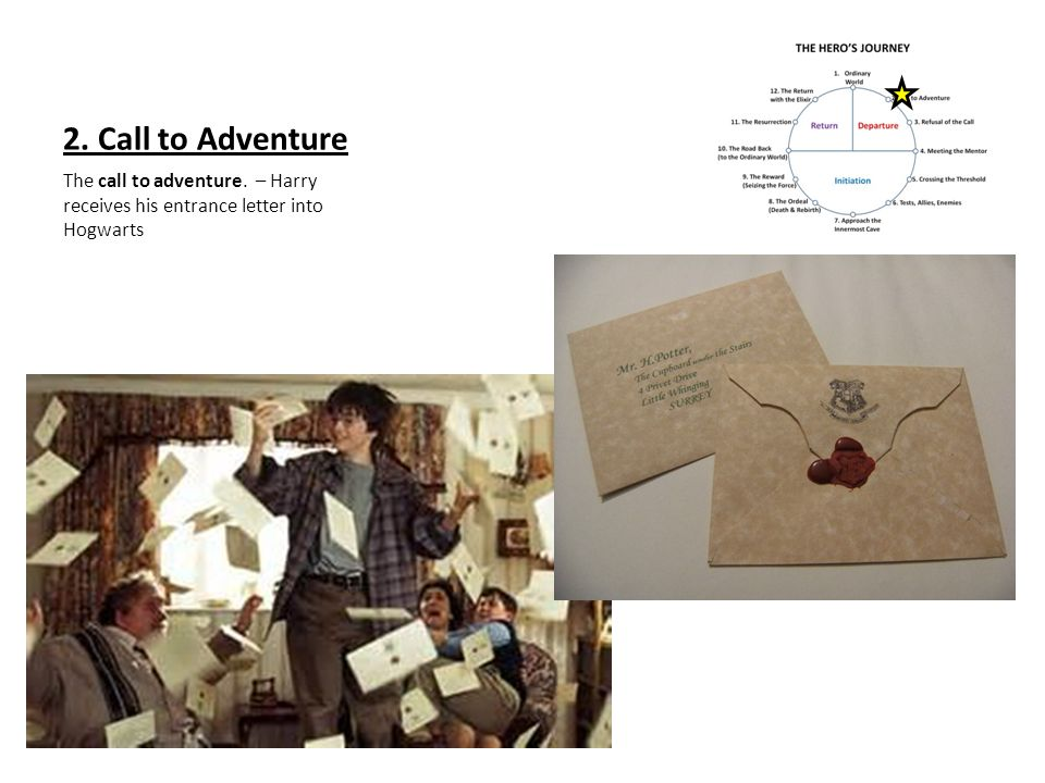 2. Call to Adventure The call to adventure. – Harry receives his entrance letter into Hogwarts
