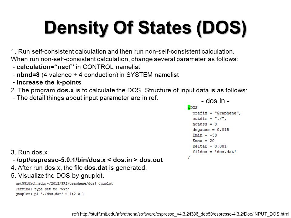 Tutorial of Practice #3 - DOS, band structure, wave function - - ppt