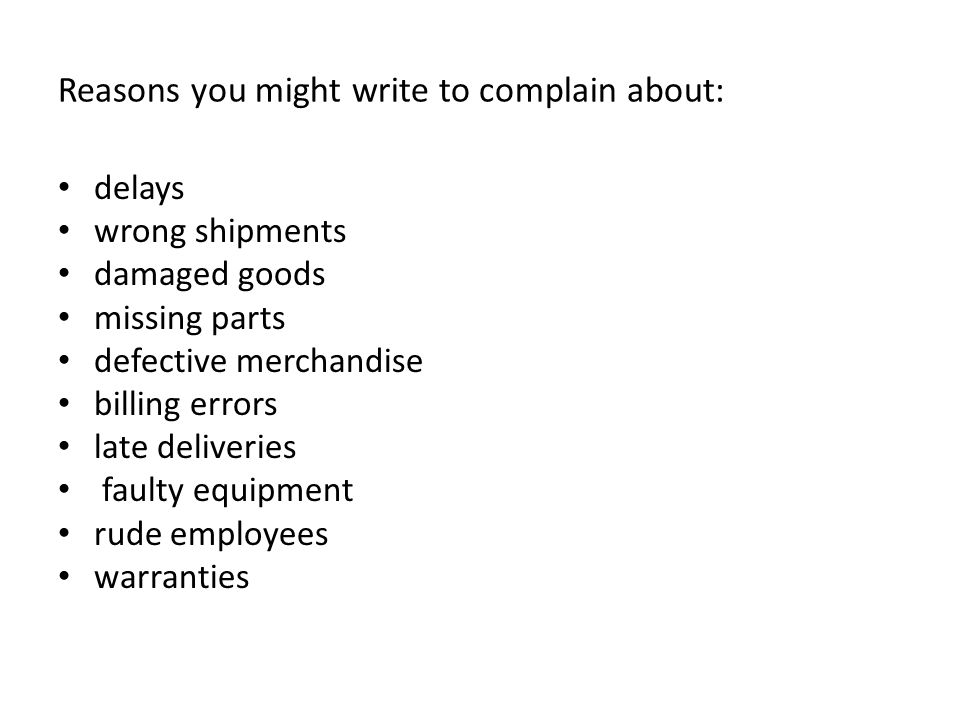 Letters of complaint, adjustment and apology - ppt download