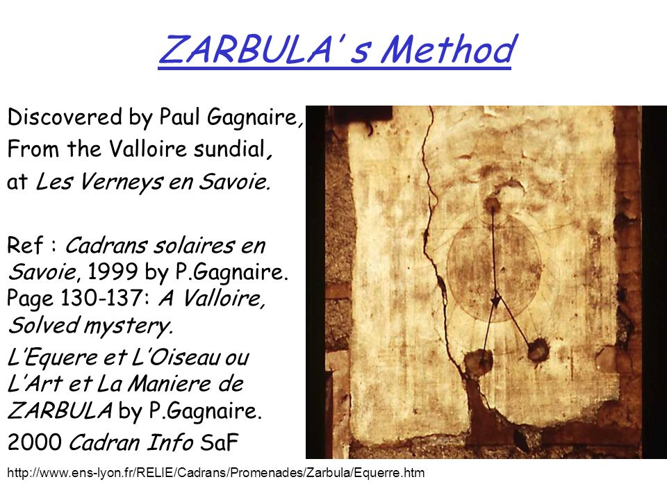 ZARBULA' s Method Discovered by Paul Gagnaire,