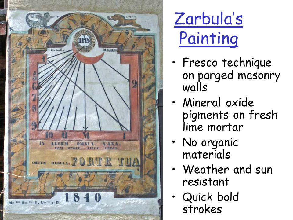 Zarbula's Painting Fresco technique on parged masonry walls