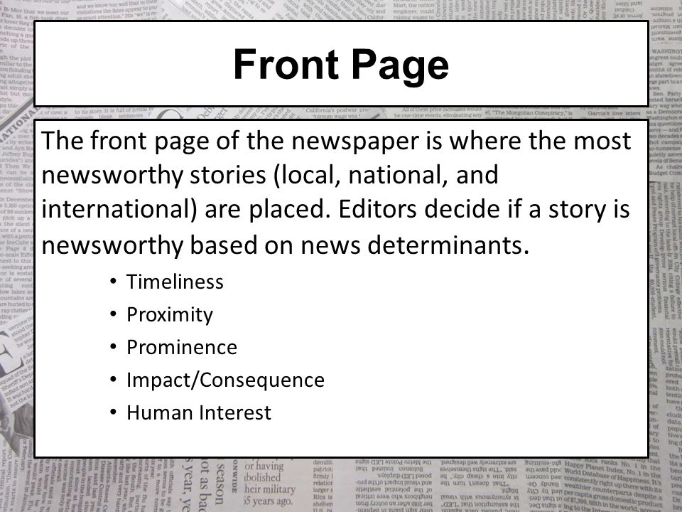 The Anatomy Of A Newspaper Ppt Video Online Download