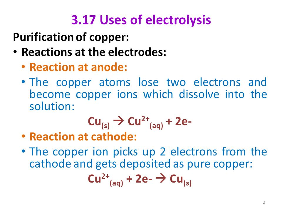 3 17 Uses of electrolysis Purification of copper: - ppt download