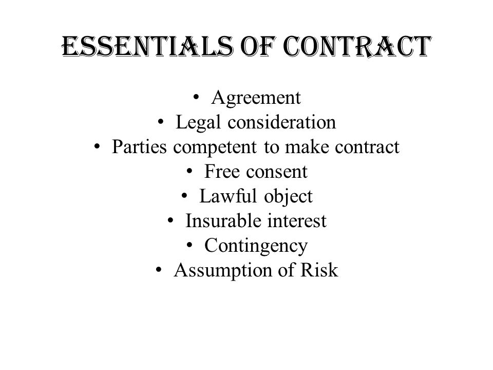 Contract Of Insurance Ppt Video Online Download